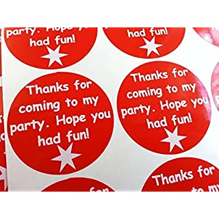24 Party Bag Thank You Stickers - White on Red