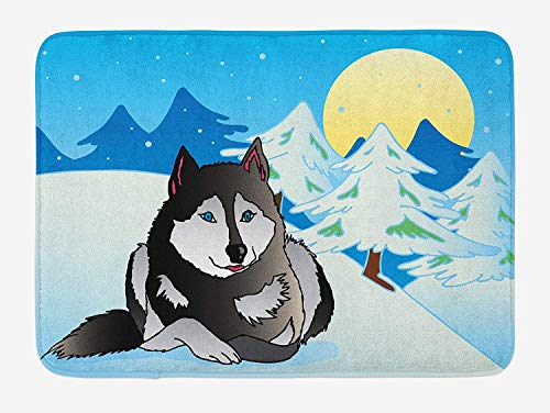 OQUYCZ Husky Bath Mat, Domestic Husky Dog Laying on a Snow Ground in a Forest of Pine Trees Under Moonlight, Plush Bathroom Decor Mat with Non Slip Backing, 23.6 W X 15.7 W Inches, Multicolor -