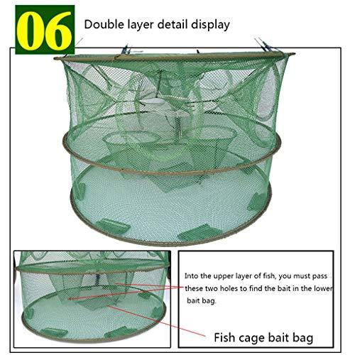 Lorsoul Automatisches Öffnen Fischernetz tragbare Runde Fischnetz Nylon Faltbare Crayfish Shrimp Catcher Crab Fish Trap Cages Gefaltete -