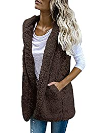 Logobeing Chaqueta Suéter Abrigo Jersey Mujer Invierno Sexy Tops Chaleco sin Mangas Flojo de los Bolsillos Elegantes Desigual Sudaderas