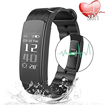 JoyGeek Fitness Tracker, Heart Rate Monitor, Bluetooth Smart Watch with Weather Report Sleep Monitor Pedometer Calorie Counter and Call/SMS Reminder for iPhone 6/6 plus/7/7 plus Samsung S7/note 7/S8 Huawei Mate 9/P9/P10 from JoyGeek