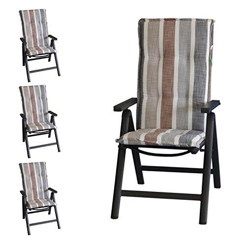 Multistore 2002 4 Stück Elegante Gartenstuhlauflage Brooklyn Stuhlauflage Polsterauflage für...