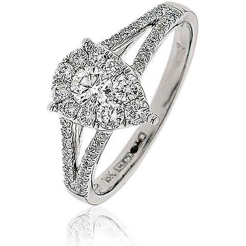 0,60G/VS2certificato ct taglio brillante rotondo Claw Set Forma di Pera diamante anello con diamanti sulle spalle in Oro Bianco