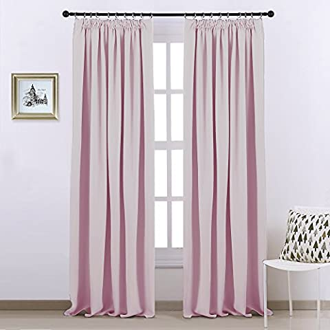 Pencil Pleat Blackout Curtains Panels - PONYDANCE Wide Width Thermal Insulated Window Treatment Blackout Curtains Bedroom Draperies for Nursery, 1 Pair, 90 Inch by 90 Inch, Light Pink