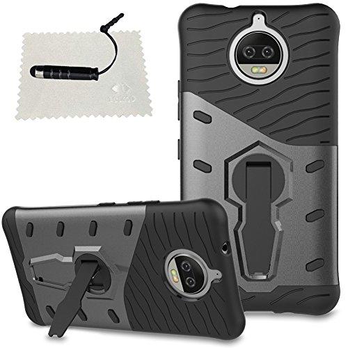 Hüllen für Mobiltelefone Motorola Moto G5s Plus, TOCASO Slim Armor CS Schutzhülle schwarz [Tough Armor] Extrem Fallschutz Doppelte Schutzschicht Stoßabweisende Handyhülle Silikon TPU Innenteil + Polykarbonat Außenteil Schutzhülle [Heavy Duty Serie] Outdoor Dual Layer Armor Case [Stoßfestes Etui] [Blau] Handy Schutzhülle [Shockproof] robuste Hülle für Motorola Moto G5s Plus + 1 Stylus Pen schwarz--Armor Schwarz