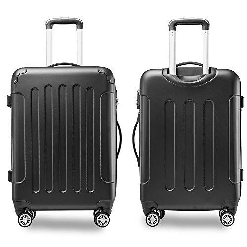 Flieks® Hartschale Trolley Koffer Reisekoffer Zwillingsrollen Reisekoffer mit Zahlenschloss Handgepäck mit 4 Doppel-Rollen, XL-L-M