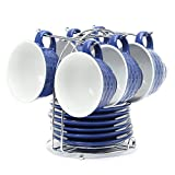 #7: Cup & Saucer Set in Indigo Color, 150 ml, Set of 6 by @home by Nilkamal