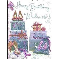 """Jonny Javelin Open Female Birthday Card - High Heels & Bag 7.25"""" x 5.5"""" Code V61"""