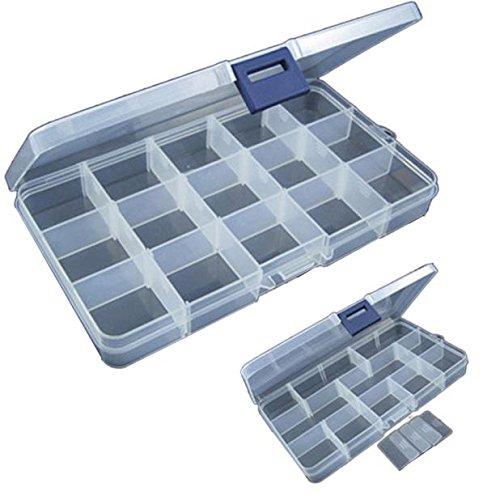 FORH Utility Box Aufbewahrungskoffer Fishing Tackle Box Gerätekoffer mit Angelzubehör gefüllt Grundausstattung 15 Slots Einstellbare Kunststoff Fischköder Tackle Box (Weiß)