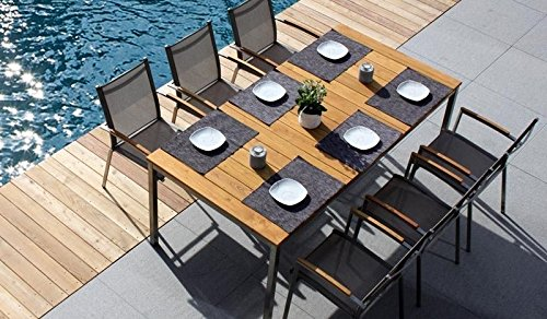 6 + 1 Sitzgruppe Wetterfestes Gartenmöbel Set / Gartengarnitur aus Edelstahl und hochwertigem Robinien-holz bestehend aus 6 Stapel-Sesseln 'Toronto' und einem Garten-Tisch mit...