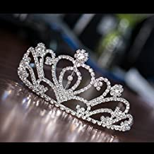 JZK® Nupcial Boda princesa paseoCorona de cristal diamante de imitación para niños Y adultos, aleación de aluminio metal plateado Diadema tiara