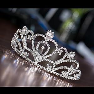 JZK Kristall Prinzessin Krone Rhinestone Königin Diadem für Kinder und Erwachsene, Metall Haarschmuck Stirnband Strass Tiara für Hochzeit Geburtstag Party Prom Braut Brautjungfern, Silber