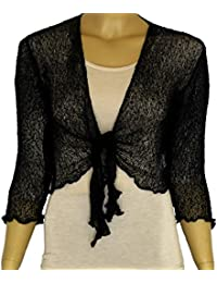 0f78691ac96 LADIES PLAIN KNITTED CROPPED TIE UP BOLERO SHRUG TOP - MASSIVE RANGE OF  COLOURS FIT ALL
