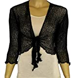 LADIES PLAIN KNITTED CROPPED TIE UP BOLERO SHRUG TOP - MASSIVE RANGE OF COLOURS FIT ALL SIZES (Black)
