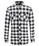JEETOO Klassics Herren Slim Hemd Kariert Kentkragen Herbst/Winter Langarm Shirts Regular Fit Freizeit Karohemd aus Baumwolle (X-Large, Weiß und Schwarz)