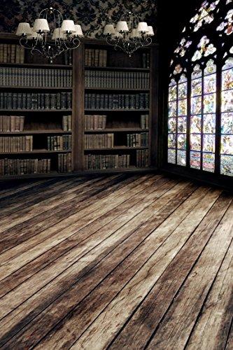 A.Monamour Dunkelgrau Jahrgang Bibliothek Bücherregal Kronleuchter Tapete Vinyl Fotohintergründe Studio Requisiten Holzboden Szene 5x7ft - Kronleuchter Bibliothek
