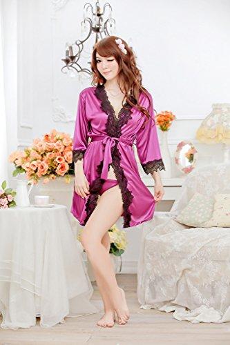 Smile YKK Nuisette Kimono Femme Soie Imité Peignoir avec String Ceinture Souple Rose Rouge