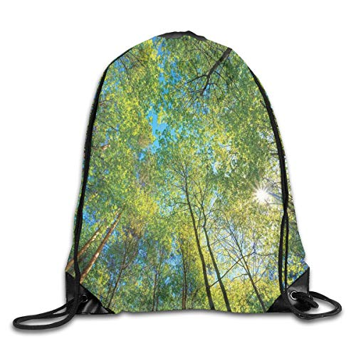 Forest Home Decor Duvet Cover Set, Evergreen Back Nature Area Mother Earth Lime Trunk Mangrove Flora Willow Decor,Green_2Drawstring Shoulder Backpack -
