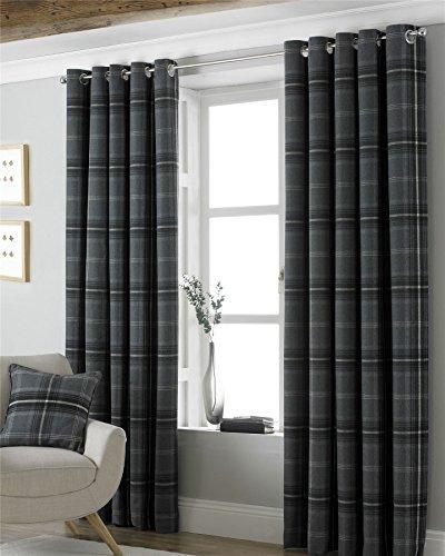 Tartan Check Wolle Optik geflochten grau gefüttert 167,6x 137,2cm-168cm x 137cm Ring Top Vorhänge Gefüttert Polyester