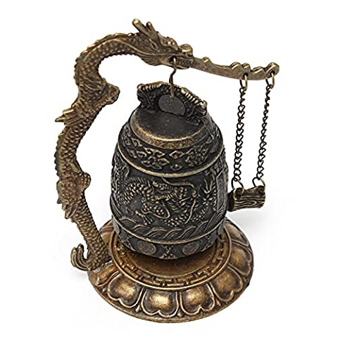 Xumarket(Tm) Beautiful Design Chinese Details About Dragon Retro Excellent Alloy Tibet Carved Dragon Buddha Buddhist Bell