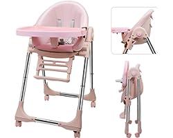 OUNUO Trona para Bebe Evolutiva, Trona para bebés con bandeja extraíble, Ajustable y Plegable con 4 ruedas, crece con el niño