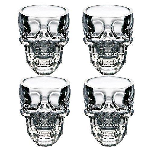 EASYTAR Hochwertig Kristalle 3D Schädel Piratinnen Shot Glas Drinks Cocktail Bier Tassen, Set of (Halloween Cocktails Spooky)