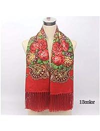 3e61938dfb98 ZXXWJ Foulard Femme Imprimer Style Ethnique Russe Motif À Fleurs De Coton  Chaud Hiver Tassel Couverture