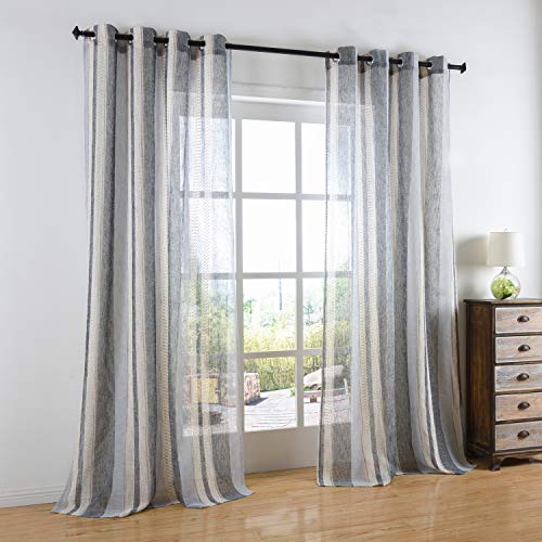 Cosics La Cortina Ventana Grey White Strip Cubre Rayas