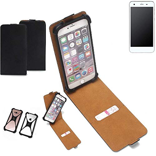 K-S-Trade Flipstyle Case für Vestel V3 5570 Schutzhülle Handy Schutz Hülle Tasche Handytasche Handyhülle + integrierter Bumper Kameraschutz, schwarz (1x)