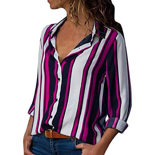 Große Größe Freizeithemd für Damen SHOBDW Damen Sommer Elegant Einfachheit Streifen Drucken Knopf Unten Langarm Revers Shirts Tunic Hemd Frauen Lässig Stilvoll Lose Oberseiten T Shirt Bluse