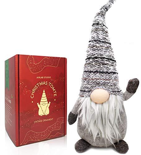 Airlab Weihnachten Deko Wichtel 49 cm Hoch, Schwedischen Weihnachtsmann Santa Tomte Gnom, Festliche Verpackung, Skandinavischer Zwerg Geschenke für Kinder Familie Weihnachten Freunde, Grau