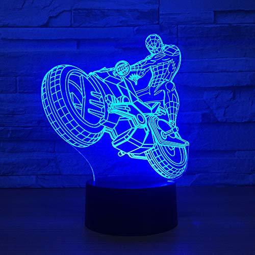 wangZJ 7 Lampada a colori / 3D A forte visibilità/Luci notturne a led/Bambini Touch Tavolo USB/Luce notturna per bambini/Moto regalo di Hallow