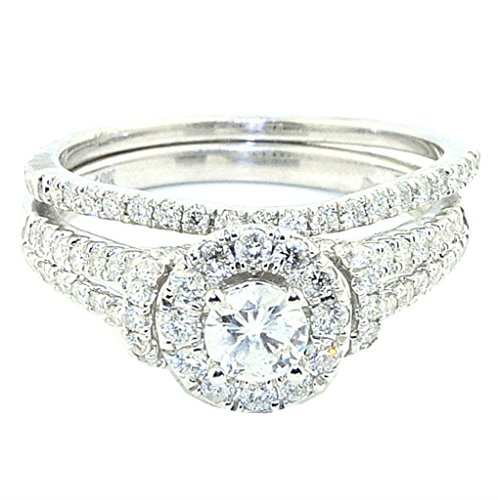 Rings-MidwestJewellery.com Women's 1Cttw Diamond Bridal Wedding Ring Halo Style Split Shoulder Engagement + Band Set 10K White Gold