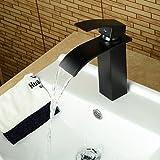 ZLL Robinet lavabo moderne cuivre mitigeur monotrou chaud et eau froide-noir