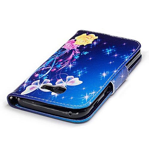 Samsung Galaxy A5 (2017) (5.2 pouce) Coque , PU Cuir Étui Protection Wallet Housse la Haute Qualité Pochette Anti-rayures Couverture Bumper Magnétique Antichoc Case Anfire Cover pour Samsung Galaxy A5 Bleu et Papillon
