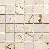Mosaik Fliese Marmor Naturstein golden cream poliert Struktur für BODEN WAND BAD WC DUSCHE KÜCHE FLIESENSPIEGEL THEKENVERKLEIDUNG BADEWANNENVERKLEIDUNG Mosaikmatte Mosaikplatte
