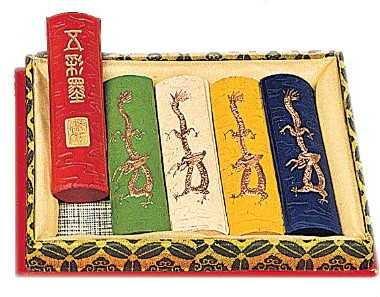 5 x 31 g chinesische Reibetusche in fünf verschiedenen Farben in Geschenkbox von EMI Craft (Craft Geschenkboxen)