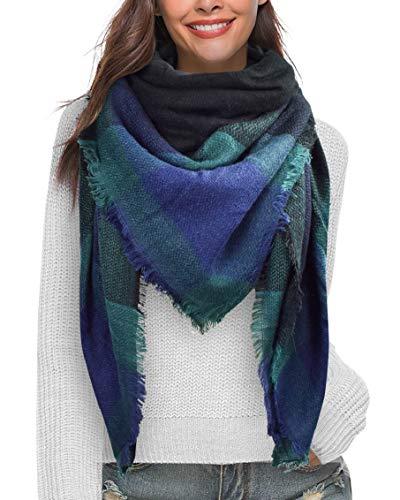 Heekpek moda nappe morbido donne sciarpa avvolgere scialle scarf wrap caldo modello lattice scialle stole con nappa stile quadrato (verde scuro)