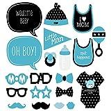 JZK 20 x Papier photo booth photobooth selfie accessoires décoration pour garçon baptême baby shower partie party (20 x photo booth)