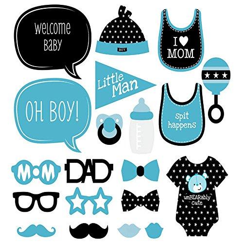 JZK 20 Papier Fotosession Photo Booth Selfie Props Deko Accessoires für Junge Babyparty Baby Dusche Baby Shower