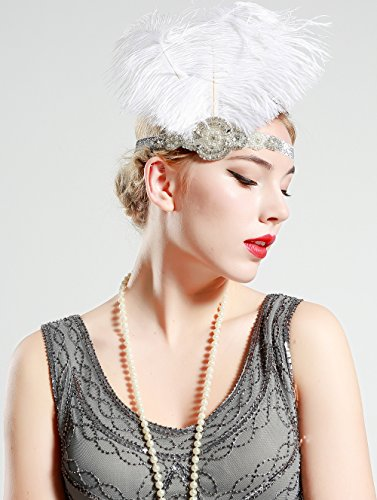 Babeyond Frauen Roaring Prom Ostrich Feder Stirnband Party Headwear 1920er Jahre Zubehör für Frauen Hyperbole Art Deco Style - 5