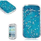 Samsung Galaxy S3 Mini i8190 Funda [Regalos gratis protector de pantalla],Funyye goma gel de silicona suave transparente ultra fina de TPU Hermosa (Flor Blanco Azul) Diseño cubierta trasera del caso carcasa protector del patrón para Samsung Galaxy S3 Mini i8190