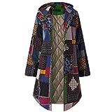 QUICKLYLY Abrigo Invierno Mujer Chaqueta Suéter Jersey Mujer Cardigan Mujer Tallas Grandes Outwear Floral Bolsillos con Capucha de Impresión Caliente Sudadera(Armada/XXXL)