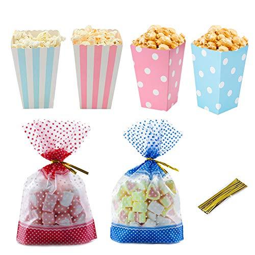 Set, Polka Dot und gestreifte Popcorn Papiertüten Candy Container mit Geschenk Mitbringsel Tasche für Film Night Baby Shower Party Pink und Blau (Packung mit 48 Stück) ()