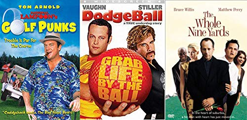 Sports Comedy Movie Bundle - National Lampoon's Golf Punks & Dodgeball & The Whole Nine Yards 3-DVD Set