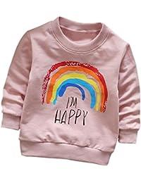 �� Sudaderas para 0-3 Años, �� Zolimx Niñas Niños Manga Larga Corte Arco Iris Impresión Suave Tops Camiseta Caliente Otoño Ropa de Invierno