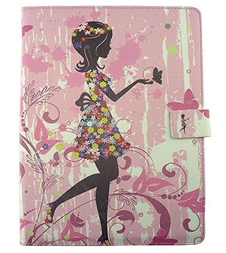 Emartbuy® PU Leather Multi Angle Executive Folio Wallet Cover for Wishtel Ira Thing 2 (Size 7 inch_Pink Flower Girl)