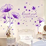Bomeautify Wandtattoos Wandbilder Schlafzimmer warm und romantisch Papier Aufkleber Nacht Zimmer Wand Dekorationen lila Wand Blume Heim liefert Tapete, 50 * 70cm