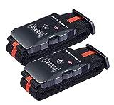 SANTREST De Sécurité TSA Voyage Bagages Sangle Ceinture d'emballage de Valise réglable avec 3 Chiffre verrou à Combinaison (Red+Black 2 Pack)