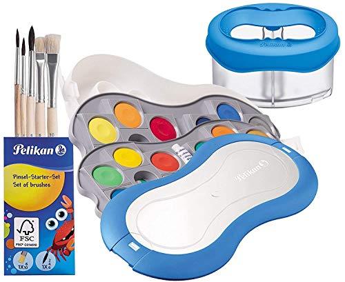 Pelikan Deckfarbkasten Space+ 735 SP/24 mit 24 Farben und 1 Tube Deckweiß (Starter-Set blau mit Space-Wasserbecher + Pinsel-Set)